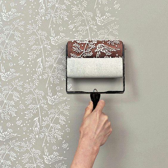 Create a wall pattern using a paint brush with stencil built-in ...