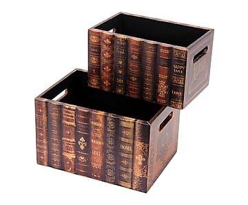 Set de 2 cajas en madera DM Libros - multicolor                              …