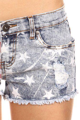 MeshMe Womens Mackenzie - Rustic Stars and Striped Denim Shorts