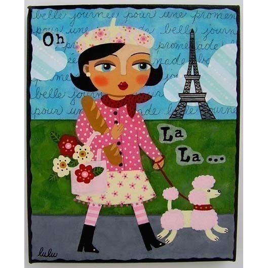 Not this but something cute like this - FRENCH Girl and Pink POODLE 8x10 PRINT of by MyPinkTurtleStudio, $15.00