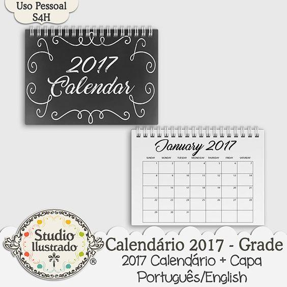 Calendário 2017 - Grade, Calendário, calendar, 2017, planner, português, inglês, portuguese, english, shedule, kit digital, digital kit, elementos, papéis, elements, papers, paper.