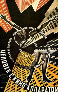 Constructivist poster by Alexander Rodchenko. In revolutionary Soviet Russia, artistic theory on collage and other manipulation of images to express ideas developped. The constructivists build ideas as they build images, in line with the goal to build a new society.