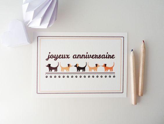 """Carte """"Joyeux Anniversaire"""" illustrée de petits chiens : Cartes par papierpapier"""