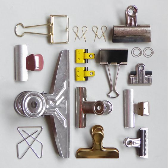 "Clip party .... an example of ""knolling"" where items are set at right angles to…:"