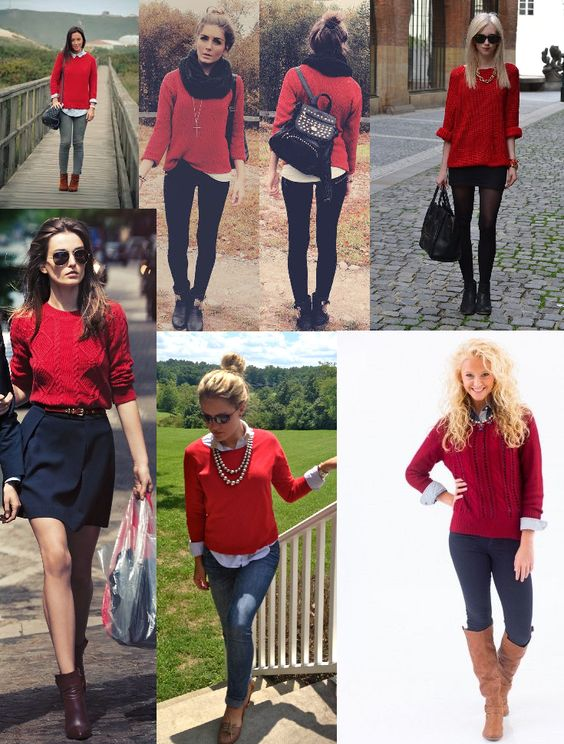 Wear your red sweater this fall red cable knit sweater outfit ...