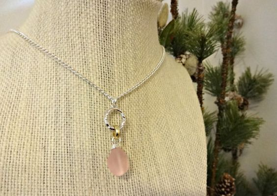 Pink Wire Wrapped Sea Glass Necklace Minimalist by YoursTrulli
