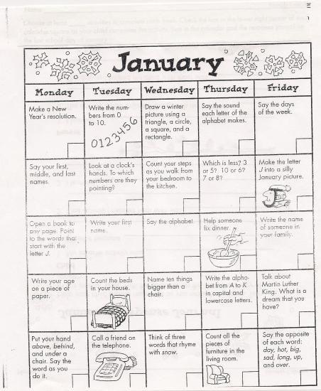 Homework calendar kindergarten