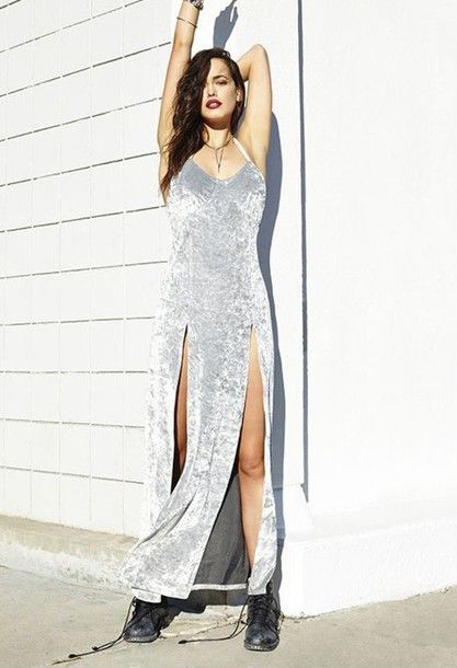 Dress: soft grunge grunge crushed velvet slit double slit maxi summer grey velvet slip double slit