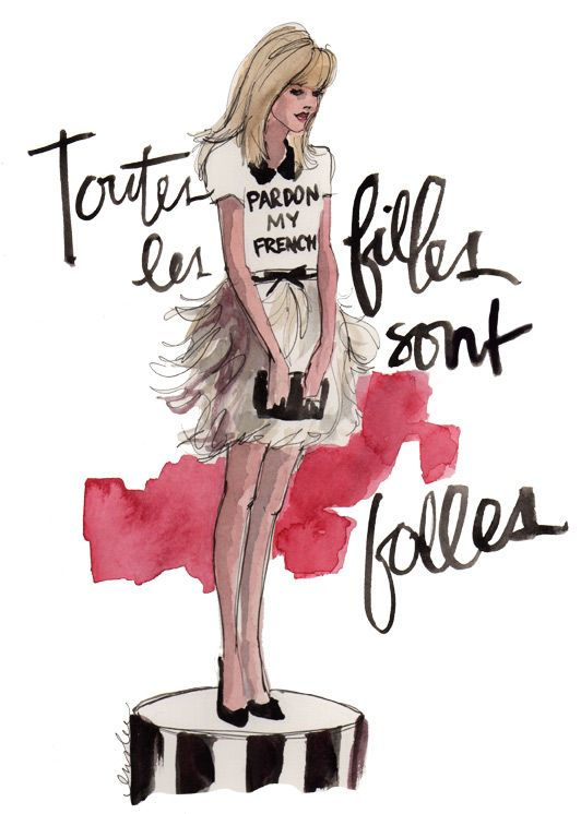 """I am literally so obsessed with this picture drawn by Inslee, designed by Kate Spade. """"Pardon my French"""" SO CUTE"""