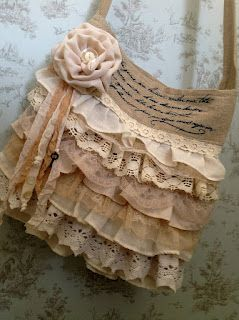 Beautiful shabby chic style bag with fabric flower rose, ruffles and burlap, ribbon purse