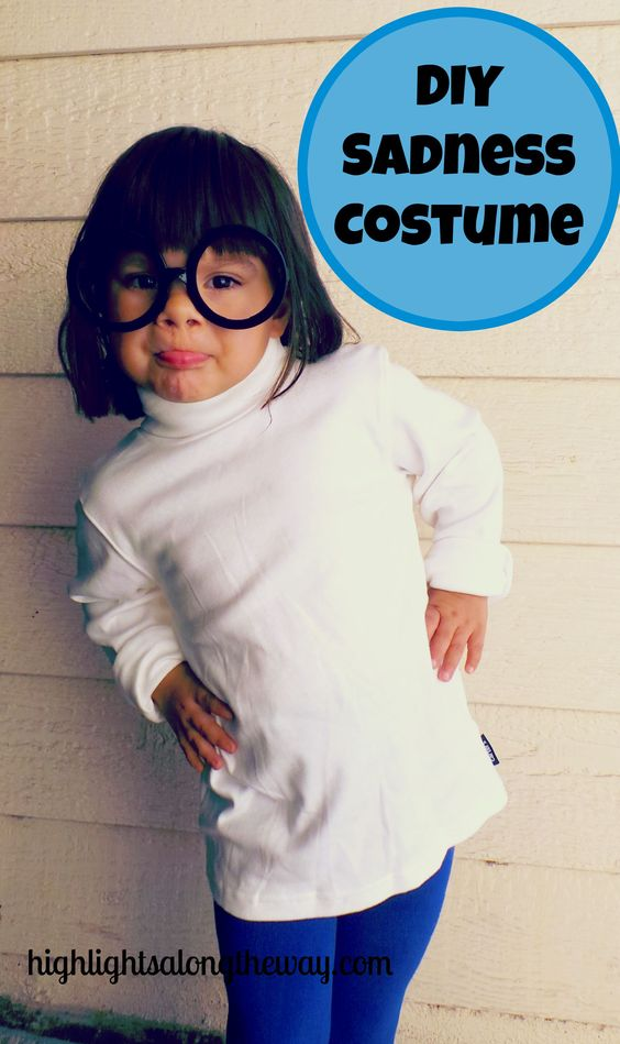 We used pieces we already had to create a DIY Sadness costume from the Disney Pixar film Inside Out for Halloween!