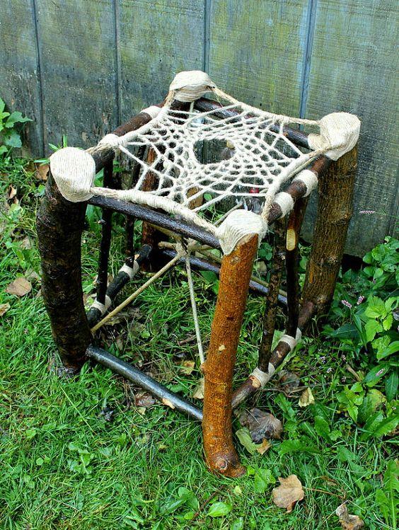 Dream Catcher Stool No.11 - Recycled Tree Limb Furniture - Rustic Furniture