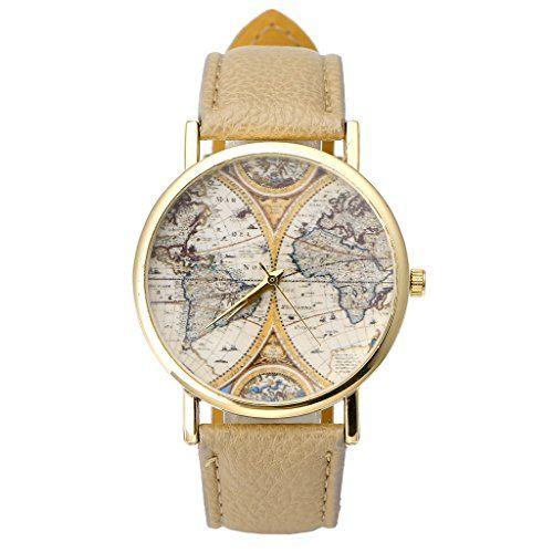 JSDDE Uhren,VINTAGE Weltkarte Uhr Lederausstattung Leicht…