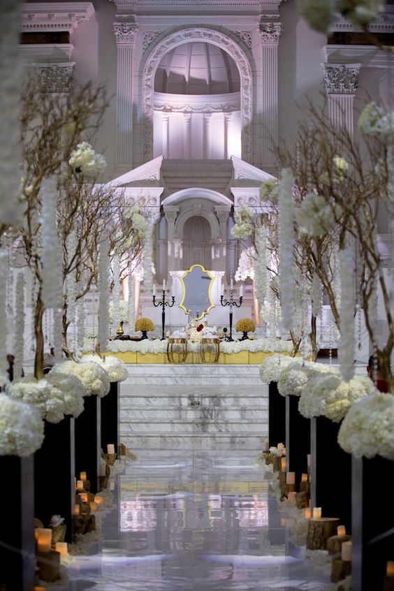 Glamorous Indoor Wedding Ceremony Gold Black And White Luxury