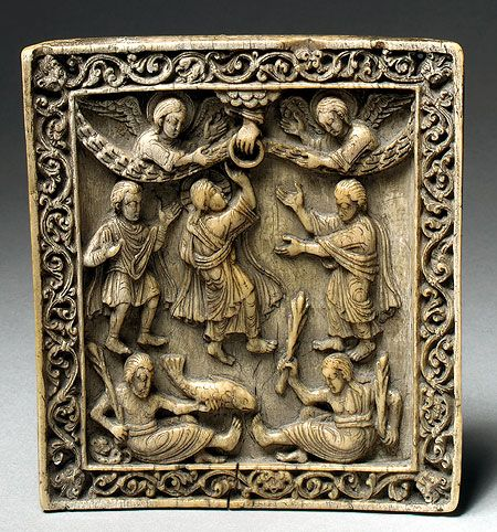 Plaque with the Ascension, ca. 1050  Western Germany  Ivory