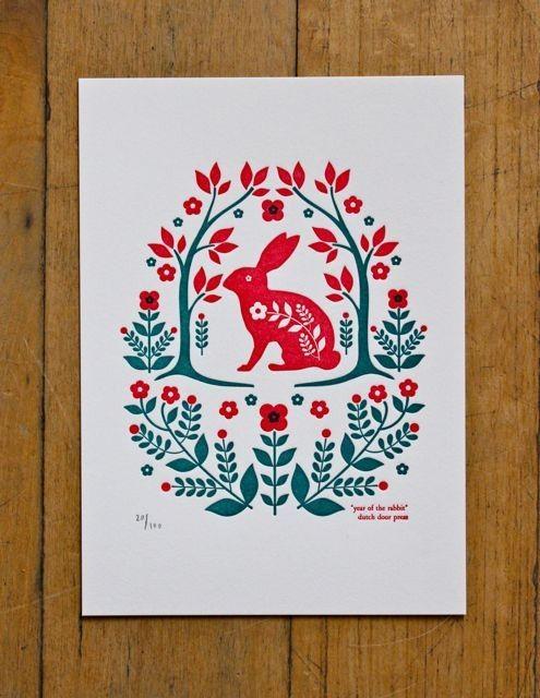 Dutch folk art, design, printmaking, rabbit, flowers, two colour, illustration, letterpress, lino, screen print