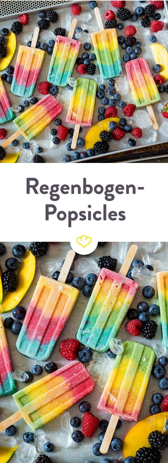 Wonach der Regenbogen schmeckt? Nach Himbeere, Erdbeere, Pfirsich, Mango, Orange, Ananas und Spinat. In…