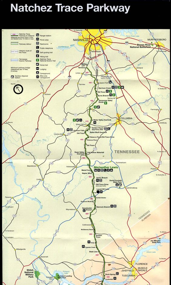 Natchez Trace Parkway Map – Chattanooga Tourist Attractions Map