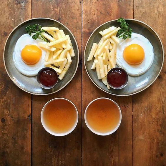 Instagram media symmetrybreakfast - Friday: Vegan eggs, chips, ketchup and a cup of tea. By the magic of science, no birds were involved in the making of these eggs 🐣 --------------------------- Have a very wonderful Friday everyone and remember, don't believe everything you see.... 👀 #SymmetryBreakfast