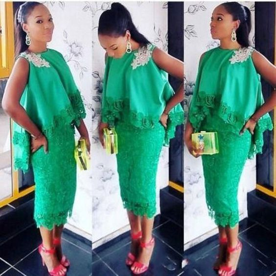 Aso Ebi Mujeres Del Estilo Elegante Vestidos de Cóctel de Encaje Verde Té longitud Apliques Vestidos Formales con Capa 2016 Vaina Corta vestidos de Baile vestido