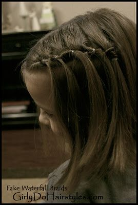 IF YOU CAN'T Braid-- this is a tutorial for doing waterfall braids a cheating way.