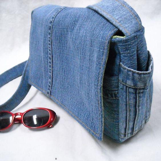 Umhängetasche aus Denim aus alten Jeanshosen