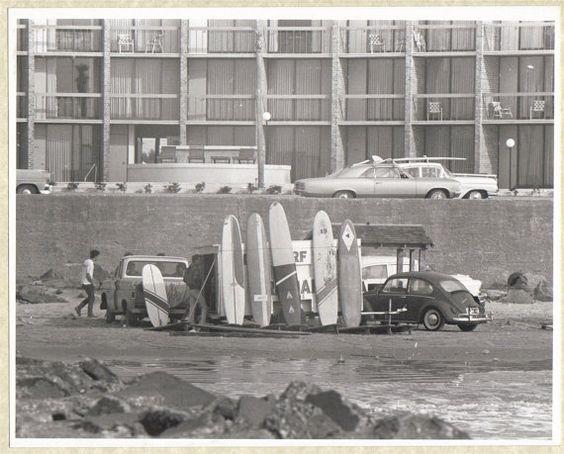 Vintage 1967 Black and White Surfing Photo Galveston Texas Surf Shop