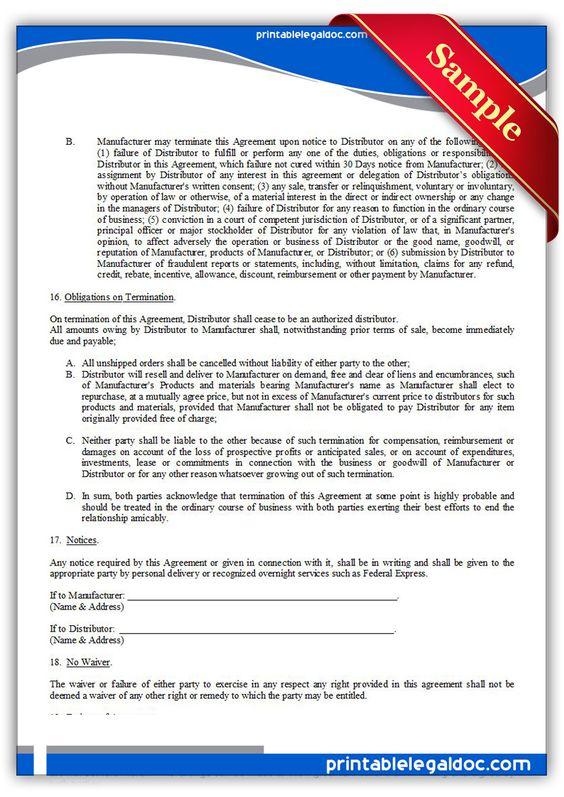 Free Printable Distributor Agreement, Exclusive   Sample Printable Legal Forms