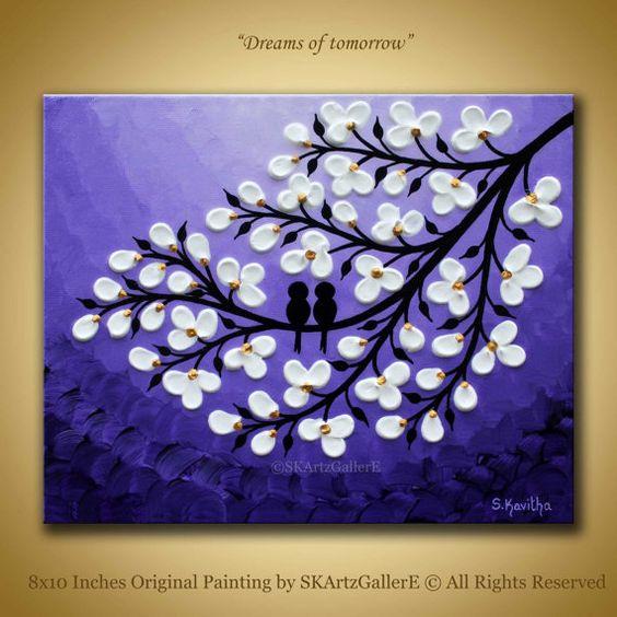 Love birds Painting, Birds on tree, Original artwork, 8x10 bird ...
