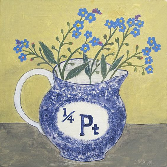 Quarter Pint Jug and Forget Me Nots a painting by Debbie George - www.debbiegeorge.co.uk