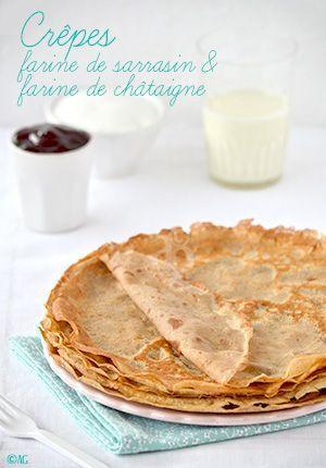 Crêpes à la farine de sarrasin et farine de châtaigne,...