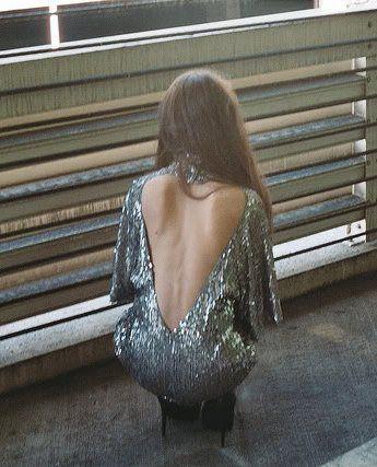 cutout back: Open Back Dresses, Backless Dresses, Backless Sequin, Sequin Dress, Sequins Backless, Backless Sparkle, Silver Sequin