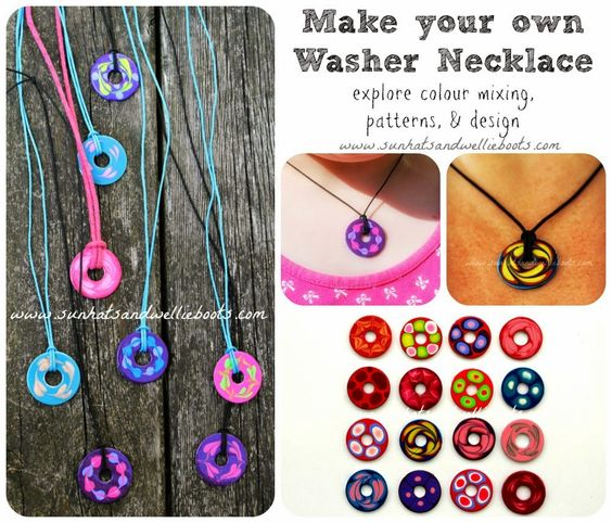 Sun Hats & Wellie Boots: Washer Necklaces for Kids to make: