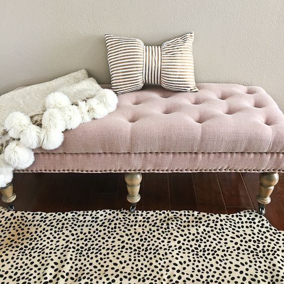 Home Tour: Cheetah leopard rug, Isabelle Upholstered Bedroom Bench, pom pom throw blanket, gold striped bow pillow - double click the photo above for details on everything // http://www.stylishpetite.com/2016/01/home-tour.html: