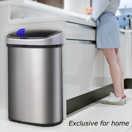Bestmassage Stainless Steel 13 Gal Kitchen Trash Can With Touch Free Automatic Sensor Walmart Com In 2021 Kitchen Trash Cans Cool Kitchens Trash Can