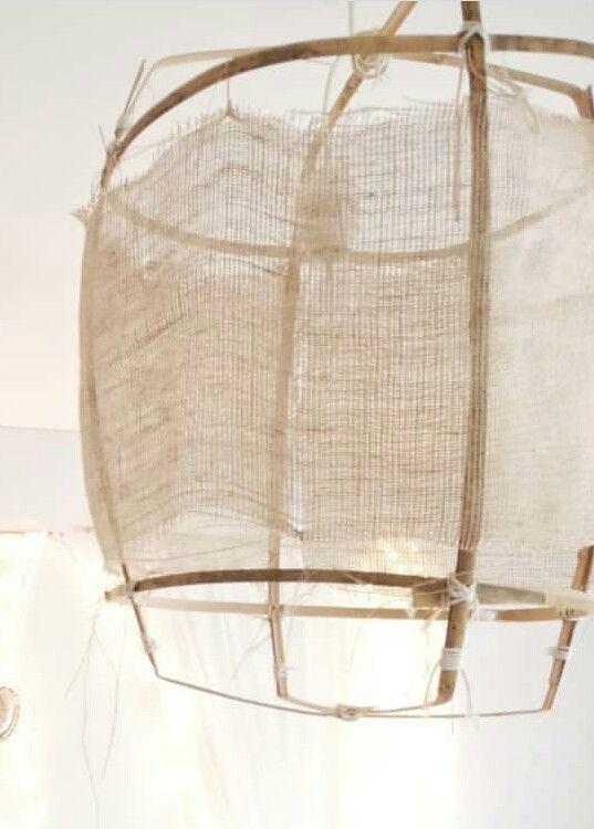 Crea Suspension Naturelle Bambou Et Toile De Lin Maison Minimaliste Decoration Maison Plafond Bois