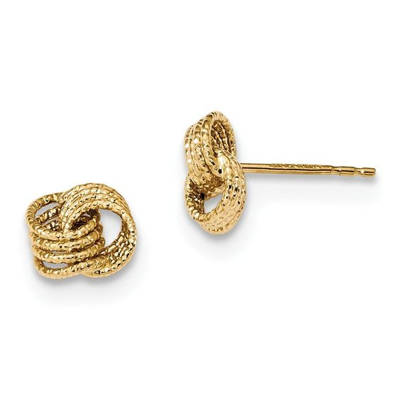 14k Textured Love Knot Post Earrings FREE Standard Shipping 14k - refund policy