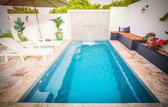 The Harmony | Fibreglass Pools | #leisurepools #pools #pooldesign #fibreglasspool #modernpool #courtyardpool #smallyardpool #goldcoast #brisbane #ipswich