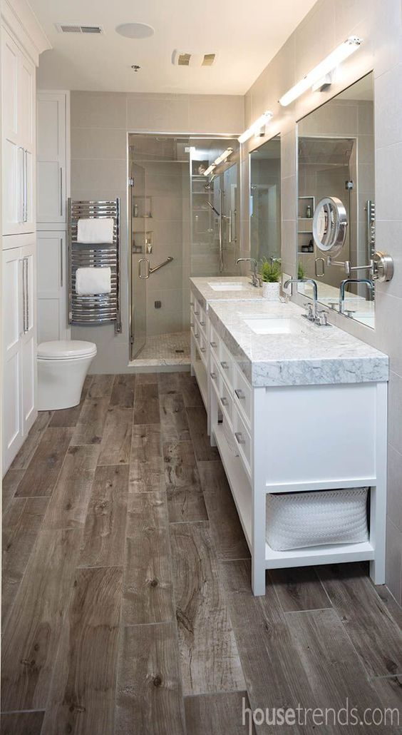 Heated floor tops a list of master bathroom ideas for Wood floor bathroom