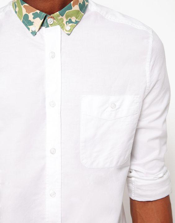 ASOS Oxford Shirt With Camo Collar
