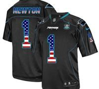 NEW Panthers #1 Cam Newton Black With 20TH Season Patch Stitched USA Flag Fashion Jersey