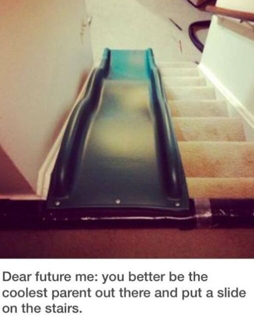 Cute idea for kids - a slide for the stairs!