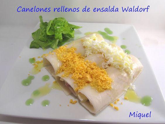 canelones rellenos de ensalada Waldorf