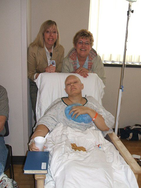 After my mastectomy, Bridget and Cheryl check up on me.