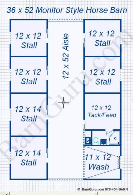 Floor Plan Horse Barn With 6 Stalls Bath Tack Wash