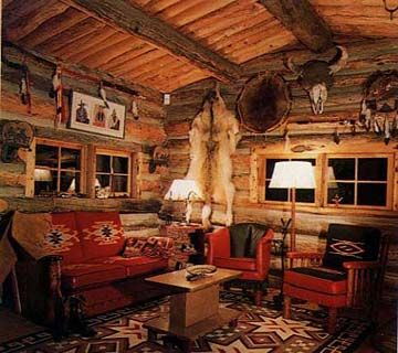 Molesworth furniture in Lloyd Taggart cabin... rustic cabin with a southwestern decorating twist.