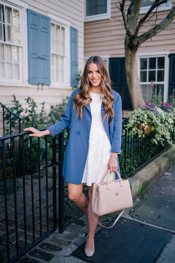 Gal Meets Glam White and Blue - Club Monaco dress, Max Mara coat, Chloe pumps & Chanel Bag