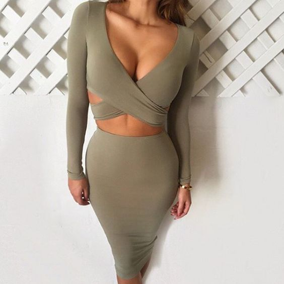 Sexy Hollow Out V-neck Bandage Bodycon Dress, khaki, small