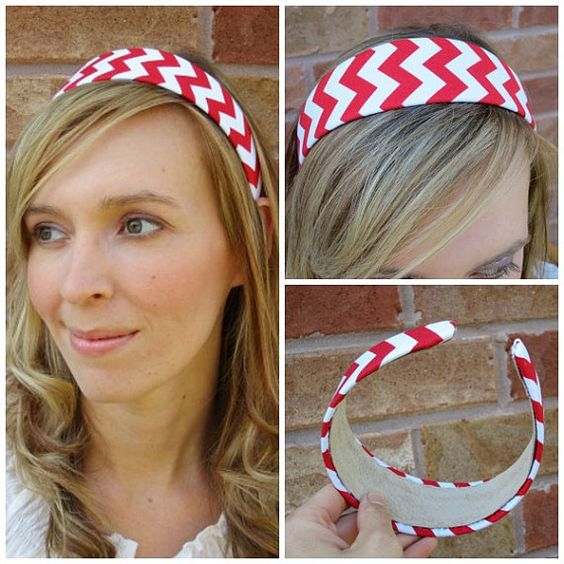 Red and White Chevron print Headband, fabric covered headband, womens hair accessory, Valentine's day accessory