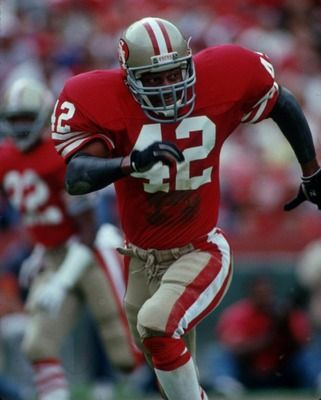 Ronnie Lott, I know he was a 49er, but you gotta respect a guy who cuts his finger off to keep playing in a game.. He was a beast.. Not a Pat, but certainly great, gotta give my props to him..